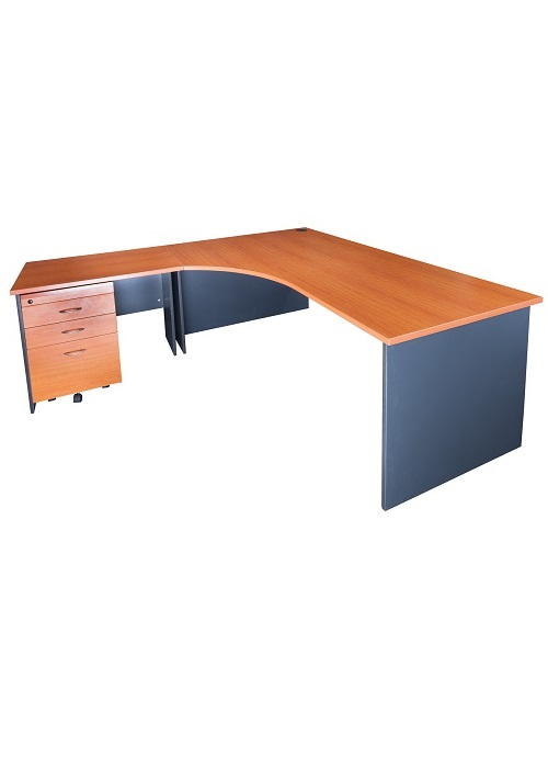 Office Desk 3pcs Curved L H Corner Package 1800w By 2100d