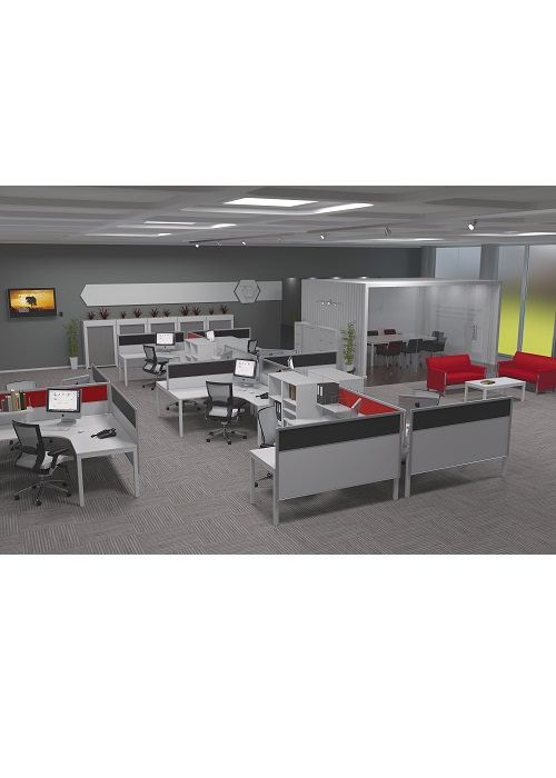 Og axis 2 shared workspace tee layout ideal furniture for Ideal office layout