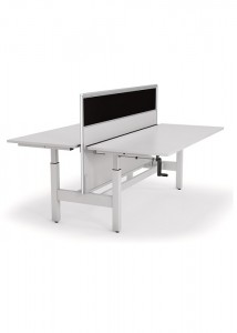 Axis adjustable desk 2 sided with screen