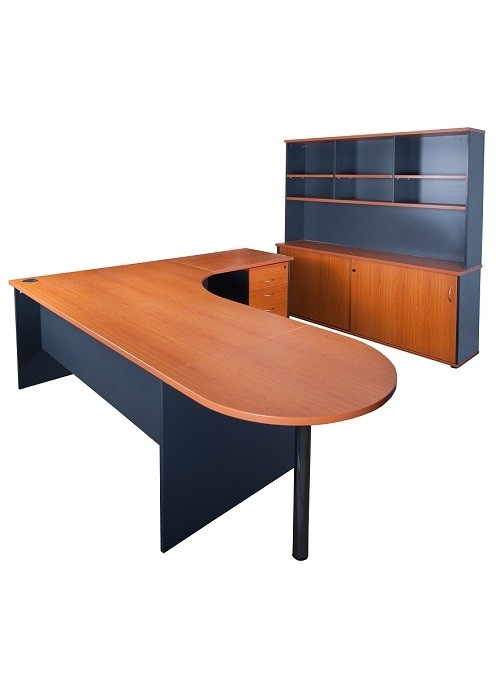 express credenza and curved desk