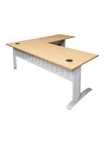 Open desk and return beech top Silver Legs