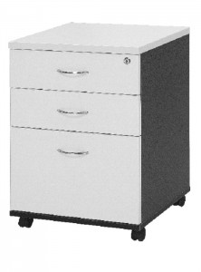 YS Storage MP 2Draw + 1File Mobile Pedestal White