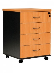 YS Storage MP4 4 Box Drawers Mobile Pedestal Beech