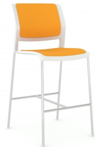 Game Barstool Chrome White Orange