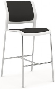 Game Barstool Skid Chrome White Black