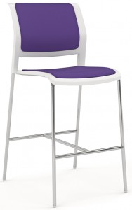 Game Barstool Skid Chrome White Plum